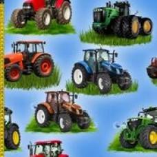New Holland, John Deere og andre traktorer på blå