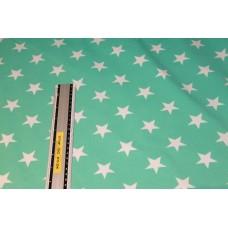 Mintgrøn med hvide stjerner