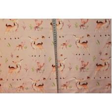 Bambier og fugle på lyserød