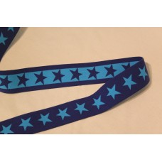 Turkise eller mørkeblå stjerner 40 mm elastik