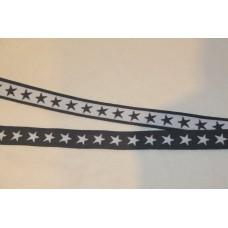 Hvide eller grå stjerner 20 mm elastik