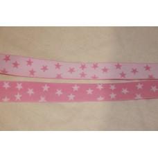 Hvide eller lyserøde stjerner 25 mm elastik