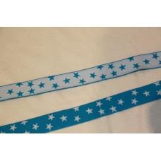 Hvid eller turkise stjerner 25 mm elastik