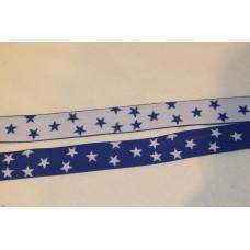 Hvid eller koboltblå stjerner 25 mm elastik
