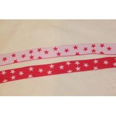 Hvid eller pink stjerner 25 mm elastik