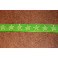 Grøn med hvide stjerner 35 mm elastik