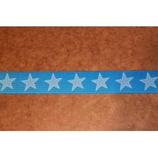 Turkis med lyseblå stjerner 35 mm elastik