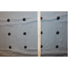Blå med 2 cm koksgrå broderede cirkler