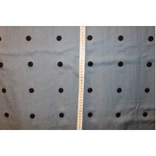 Blå med 2 cm sorte broderede cirkler