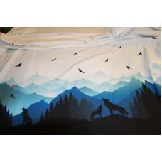 Ulve og bjerge med fugle