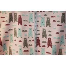 Bjørne og bjerge på lyserød