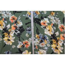 Armygrøn med gule, orange og blå blomster